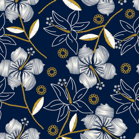 Hibiscus tropical embroidery navy seamless pattern .