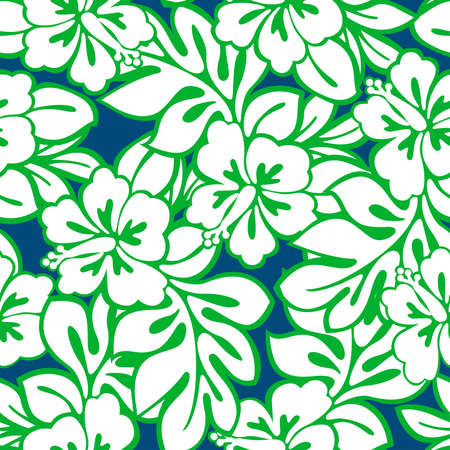 Hibiscus tropical leaves in a seamless pattern . Ilustração