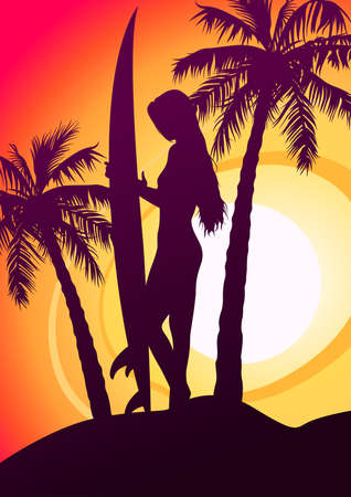 surfboard fin: Surfing girl with surfboard and palm trees .
