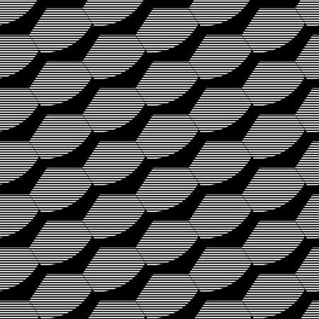 Abstract black and white hexagon seamless pattern Çizim
