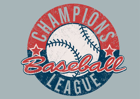 league: Baseball Champions league distressed print .