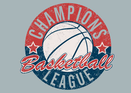 distressed: Basketball Champions league distressed print . Illustration