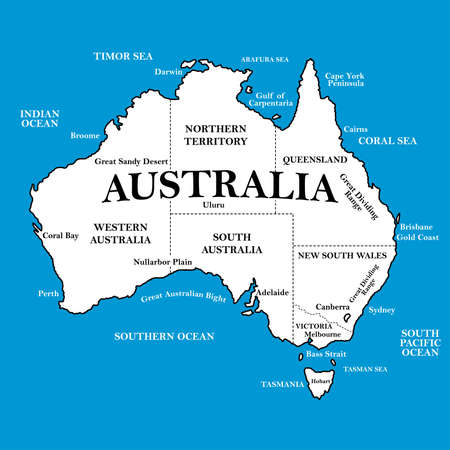territories: Map of Australia with locations on a blue background .
