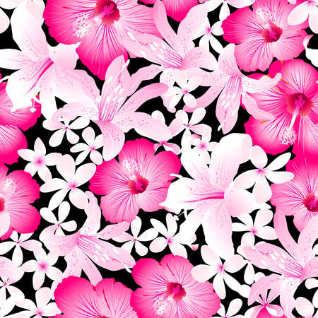 pink plumeria: Tropical pink and white flowers seamless pattern .