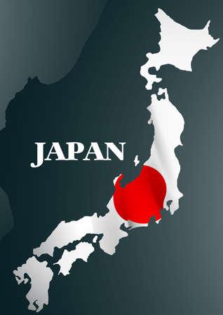 Mapa del país de Japón con la bandera nacional. Ilustración de vector