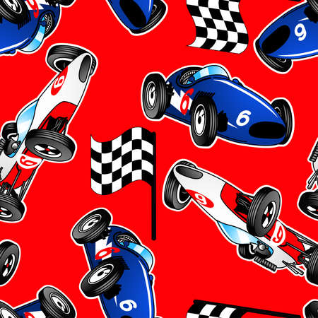 Red, white and blue racing cars seamless pattern . Illustration