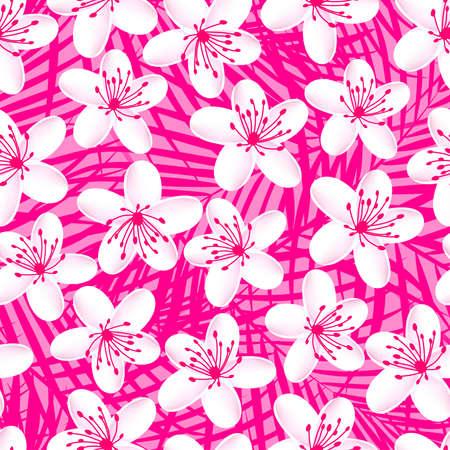 pink wall paper: Small white tropical frangipani seamless pattern .