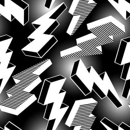 White abstract lightning seamless pattern . Illustration