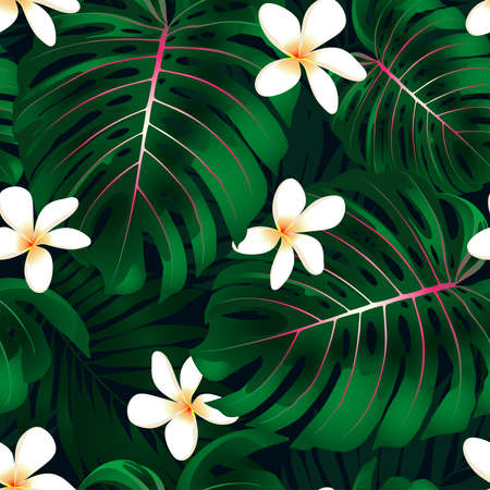 Tropical Monstera floral seamless pattern