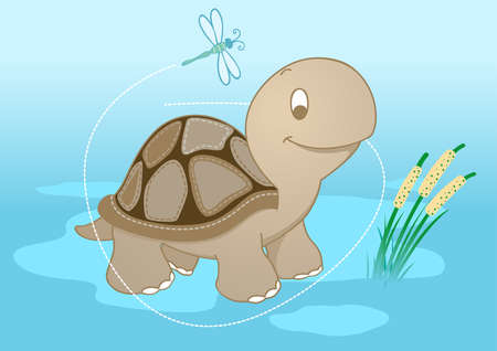 turtle in pond with a dragonfly. Illustration