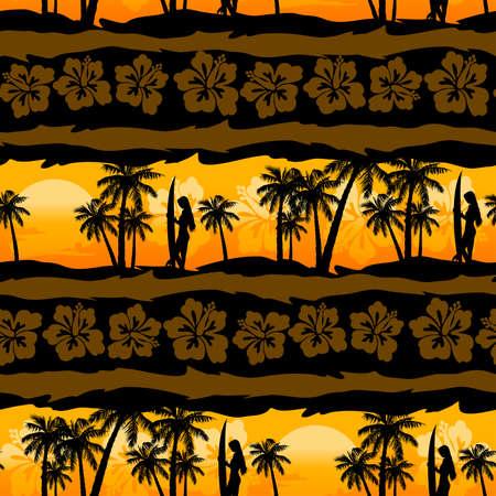 Tropical frangipani with palms sunrise seamless pattern . Illustration