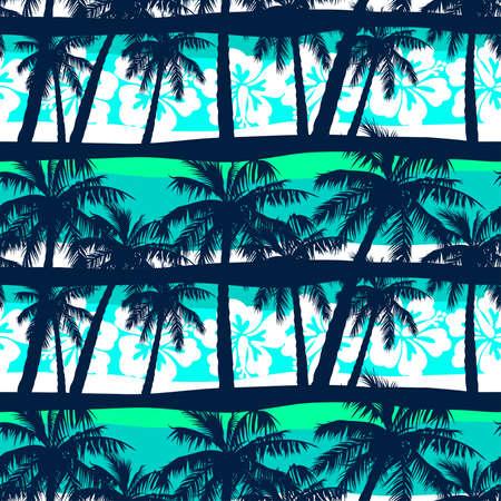 Tropical frangipani with palms seamless pattern Illustration
