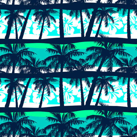 Tropical frangipani with palms seamless pattern Çizim