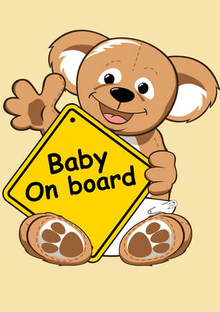baby on board: Baby on board sign with Teddy bear . Illustration