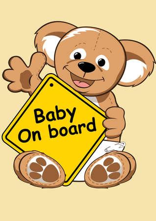 bebe a bordo: Beb� en Muestra de la tarjeta con el oso de peluche.