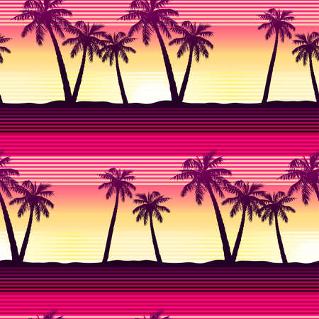 Tropical palms at sunset seamless pattern .