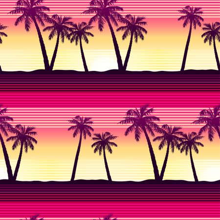 seamless pattern: Tropical palms at sunset seamless pattern .