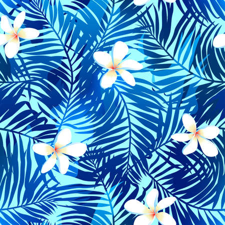 Tropical palms seamless pattern in blue with Frangipani flower.