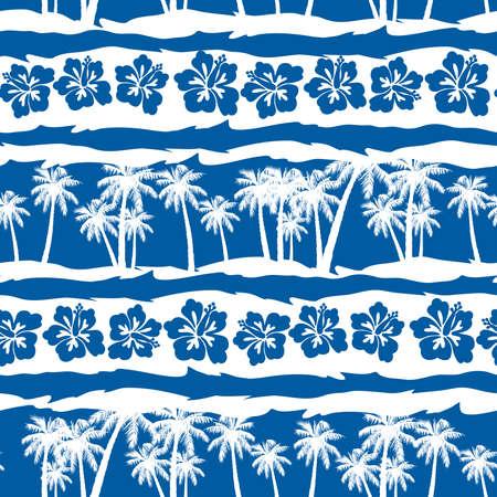 mens: Tropical frangipani with beach palms seamless pattern .