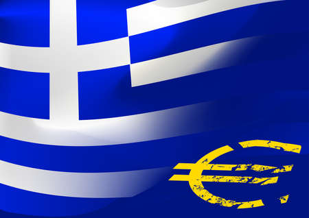 eu: Greece flag with EU symbol .