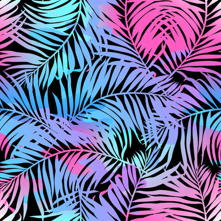 watercolor paper: Tropical palms seamless pattern in colours.