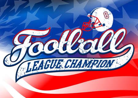 league: Football league champion on USA flag.