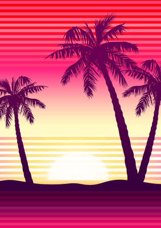 orange sunset: Palms at sunset with stripes . Illustration