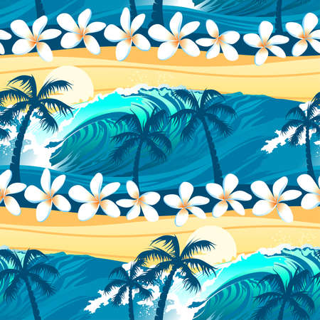 plumeria flower: Tropical surfing with palm trees seamless pattern. Illustration