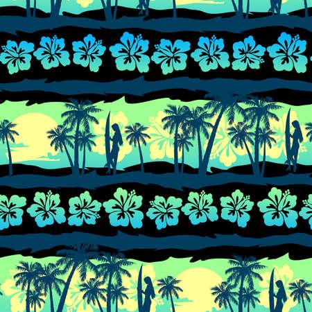 Tropical frangipani with green sunrise seamless pattern.
