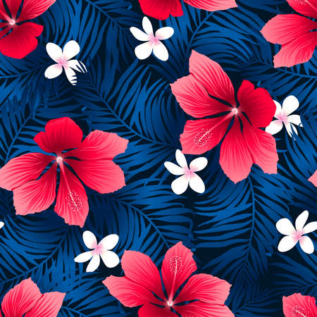 pink plumeria: Tropical red hibiscus flowers in a seamless pattern.