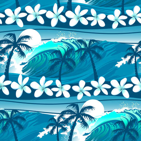 surfing: Blue tropical surfing with palm trees seamless pattern .