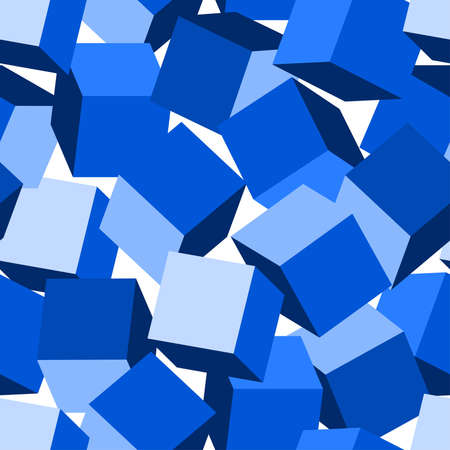 abstract pattern: Blue 3D blocks in a seamless pattern .