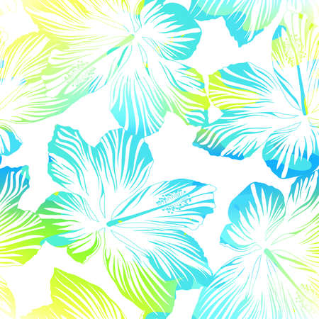 bloemen wit zwart: Tropical flowers white seamless pattern with watercolour effect .