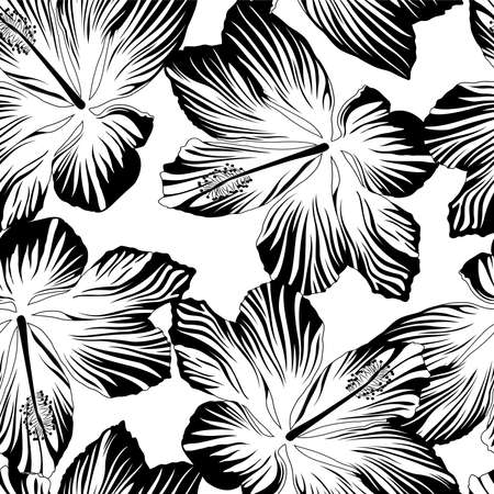 Tropical flowers seamless pattern in black and white .