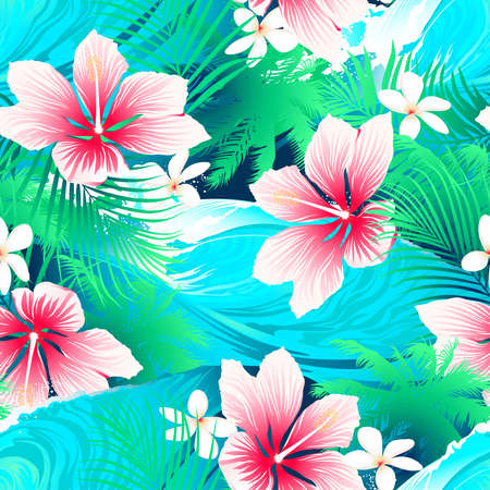 Tropical white hibiscus flowers with green leaves seamless pattern.