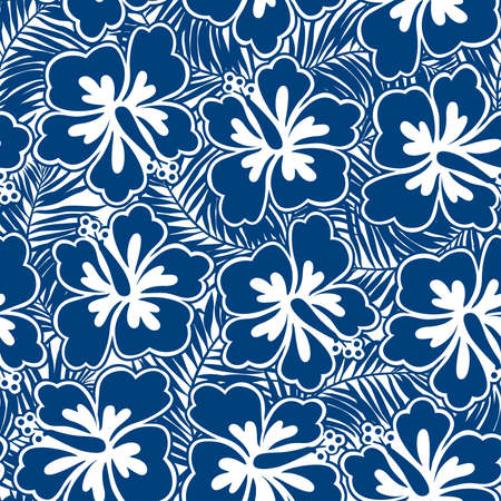 hawaiian shirt: Hibiscus blue flowers and tropical leaves in a seamless pattern.
