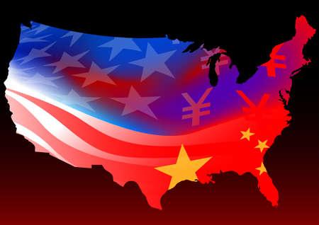 chinese map: Mapa de Am�rica con el chino y EE.UU. bandera.