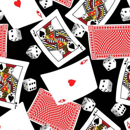 Six sided dice and blackjack cards seamless pattern.