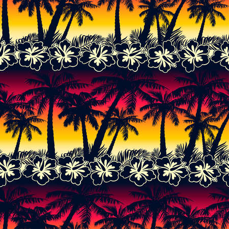 Tropical palm tree at sunset with hibiscus flowers seamless pattern.