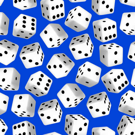tumble: Black and white 3D dice seamless pattern .