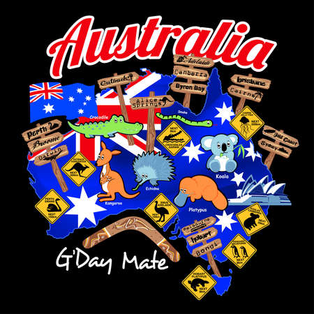 australia map: Map of Australia with nation flag and icons.