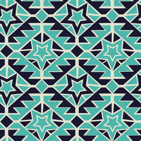 Tribal turquoise and navy geometric tribal seamless pattern.