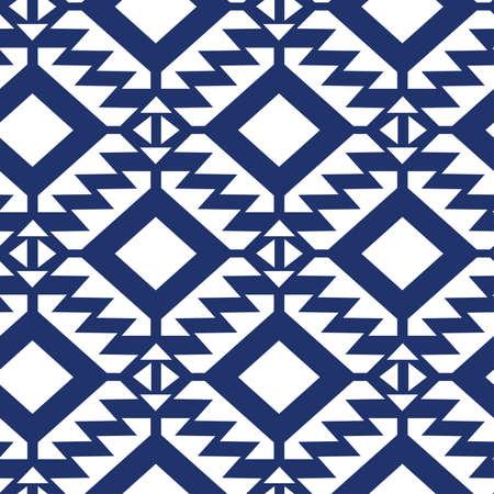Tribal blue and white geometric seamless pattern. Ilustração