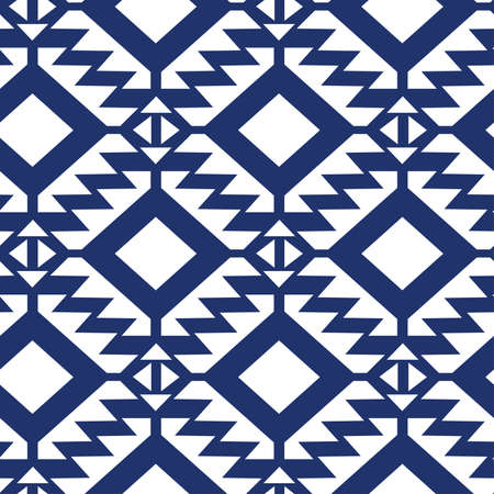 pattern geometric: Tribal blue and white geometric seamless pattern. Illustration