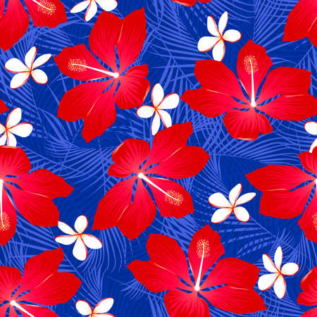 hawaiian shirt: Tropical palm leaves with hibiscus flowers seamless pattern on a white background