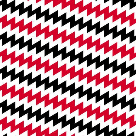 Red Black and white diagonal chevron seamless pattern. Illustration