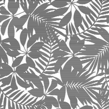 White and black striped tropical leaves seamless pattern.