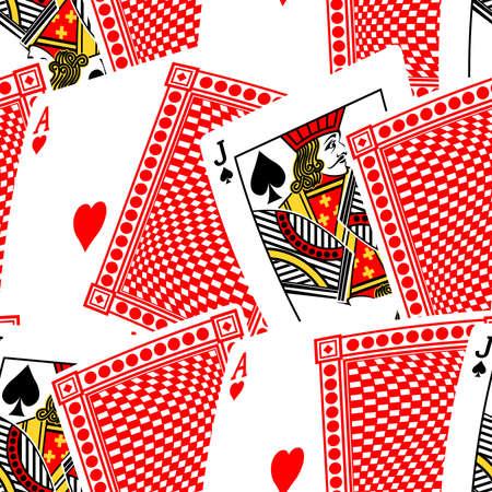blackjack: Blackjack cards in a seamless pattern. Illustration