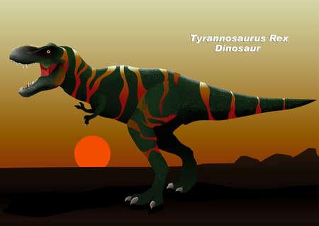 Tyrannosaurus Rex Dinosaur walking at sunset .