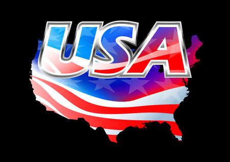 american history: USA American flag on black  .